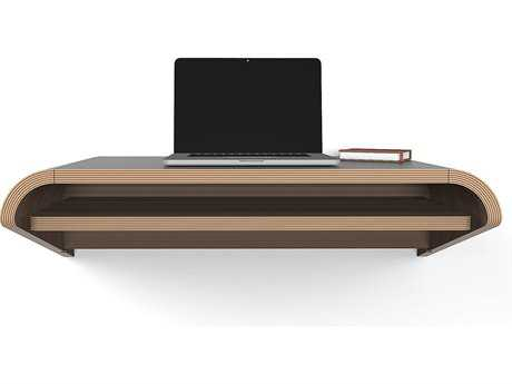 Orange22 Minimal Walnut 36''L x 16''D Rectangular Small Wall Mounted Desk with Pull-Out Drawer