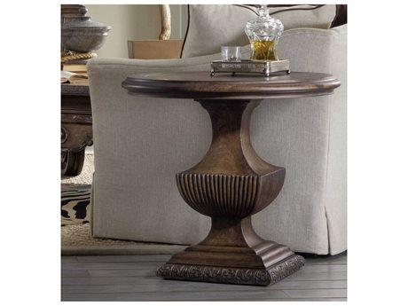 Hooker Furniture Rhapsody Rustic Walnut 31'' Wide Round Urn Pedestal Nightstand (OPEN BOX)