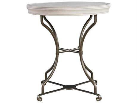 Universal Furniture Elan 24'' Wide Round Belgian Wheat End Table (OPEN BOX)