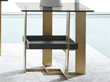 Casana Kenzie Brown / Soft Gold 24'' x 19'' Rectangular End Table with Bronze Glass Top