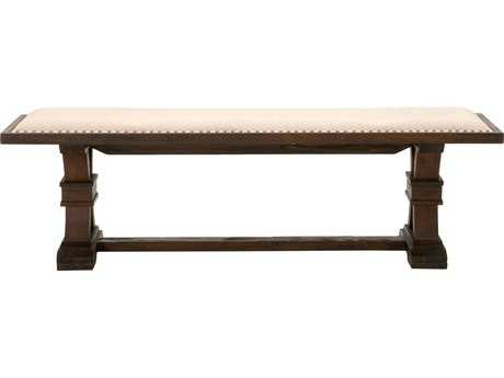Orient Furniture Express Traditions Devon Rustic Java and Natural Fabric Dining Bench