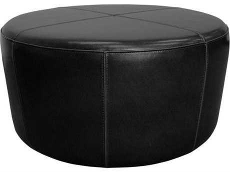 Orient Express Furniture Wheel Black Ottoman