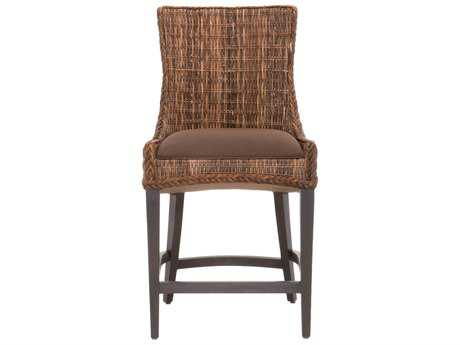 Orient Furniture Express Wicker Set of 2 Wicker Greco Brown Fabric Counter Stool with Espresso Legs