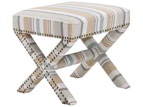 Orient Express Furniture Villa Remy Spring Stripe Linen Ottoman
