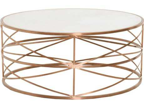 Orient Express Furniture Bella Antique 35.5'' Round Melrose Brushed Rose Gold Coffee Table