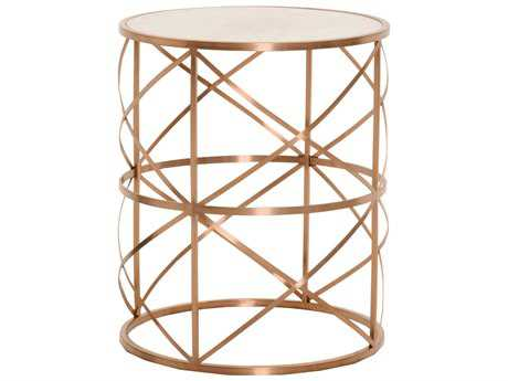 Orient Express Furniture Bella Antique 20'' Round Melrose Brushed Rose Gold End Table