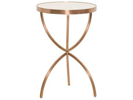 Orient Express Furniture Bella Antique 16'' Square Hilton Brushed Rose Gold Accent Table