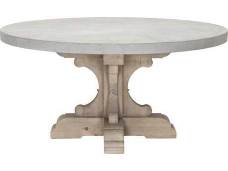 Orient Furniture Express Bella Antique 60'' Round Light Gray Concrete Dining Table Top with Round Smoke Gray Pine Dining Table Base Set
