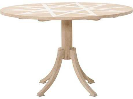 Orient Express Tribeca 47.25''L x 47.25''W White Stone & Blonde Oak Dining Table