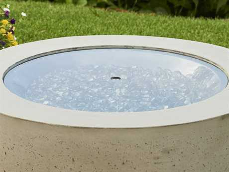 Outdoor Greatroom 30'' Round Grey Tempered Glass Burner Cover PatioLiving