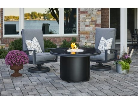 Outdoor Greatroom Black Granite Beacon Chat Height Gas Fire Pit Table PatioLiving