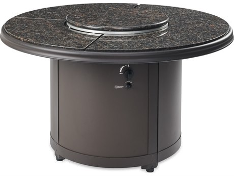 Outdoor Greatroom Brown Granite Beacon Chat Height Gas Fire Pit Table