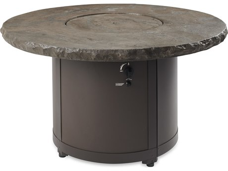 Outdoor Greatroom Marbelized Noche Beacon Chat Height Gas Fire Pit Table