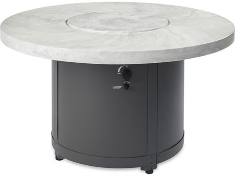 Outdoor Greatroom White Onyx Beacon Chat Height Gas Fire Pit Table
