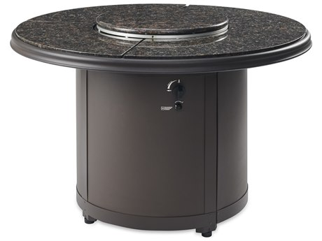 Outdoor Greatroom Brown Granite Beacon Dining Height Gas Fire Pit Table
