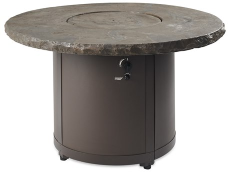 Outdoor Greatroom Marbelized Noche Beacon Dining Height Gas Fire Pit Table PatioLiving