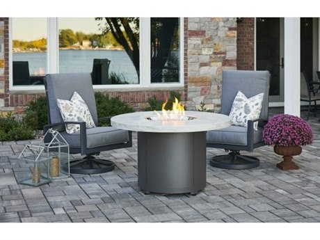 Outdoor Greatroom White Onyx Beacon Dining Height Gas Fire Pit Table