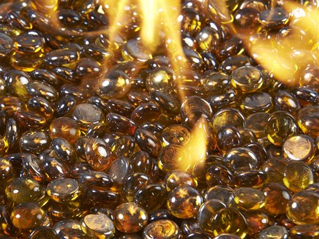 Outdoor Greatroom Amber Tempered Fire Glass Gems. (5lb Container)