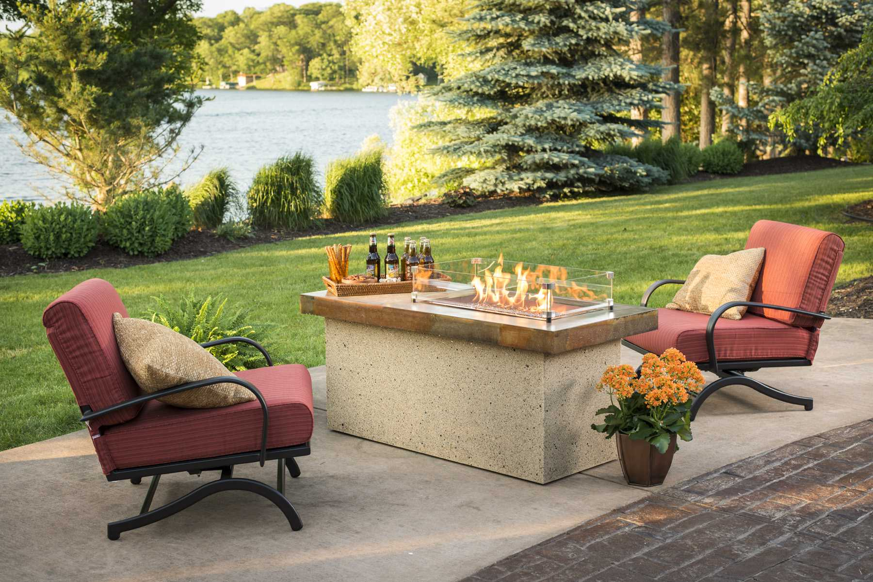 Outdoor Greatroom Chat Rocking Chairs With Papaya Cushions