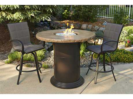 Outdoor GreatRoom Colonial Fiberglass 48 Round Crystal Pub Fire Pit Table with Mocha Top