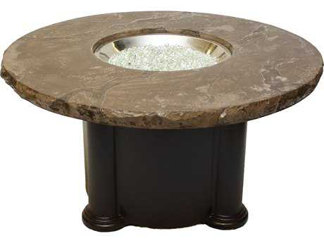 Outdoor GreatRoom Colonial Fiberglass 48 Round Coffee Fire Pit Table with Marbleized Noche Top