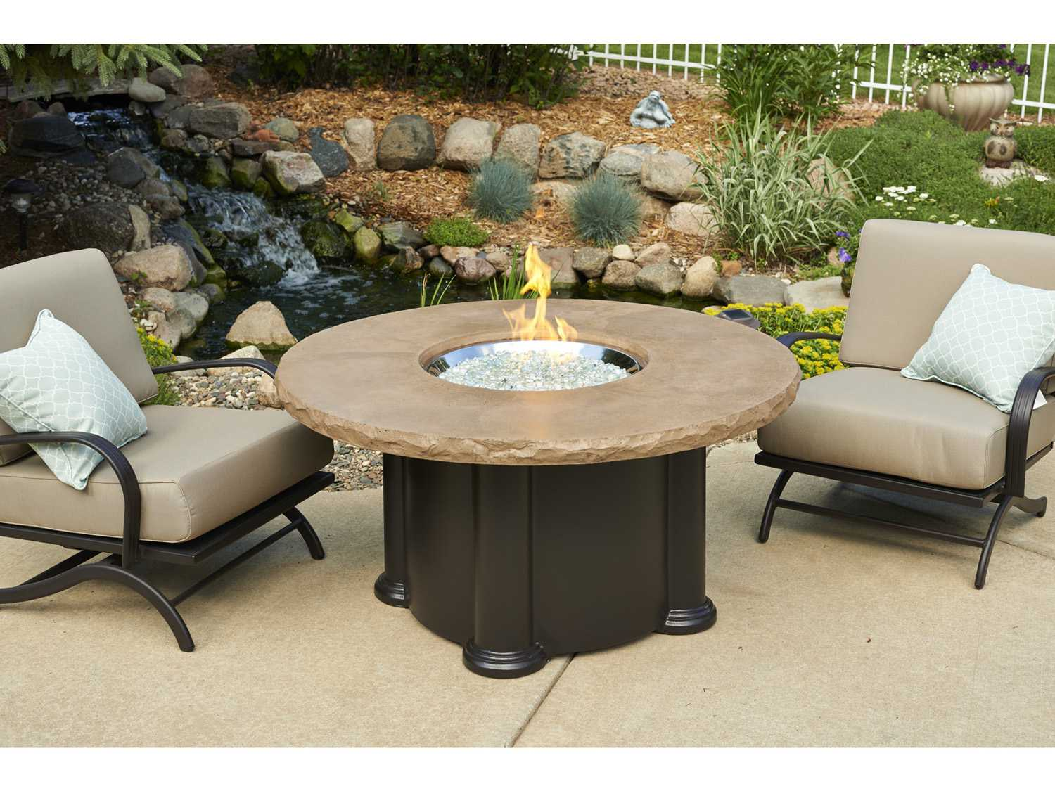 Outdoor Greatroom Colonial Fiberglass 48 Round Fire Pit Coffee Table With Mocha Top Ogcolonial48mk