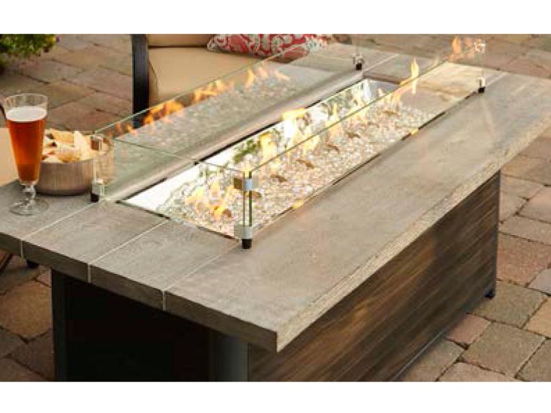 Outdoor greatroom cedar ridge linear gas fire pit table for Cedar ridge storage