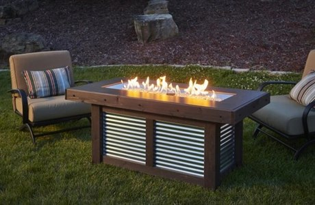 Outdoor Greatroom Denali Brew Wood Mocha 42''W x 12''D Rectangular Linear Gas Fire Pit Table PatioLiving