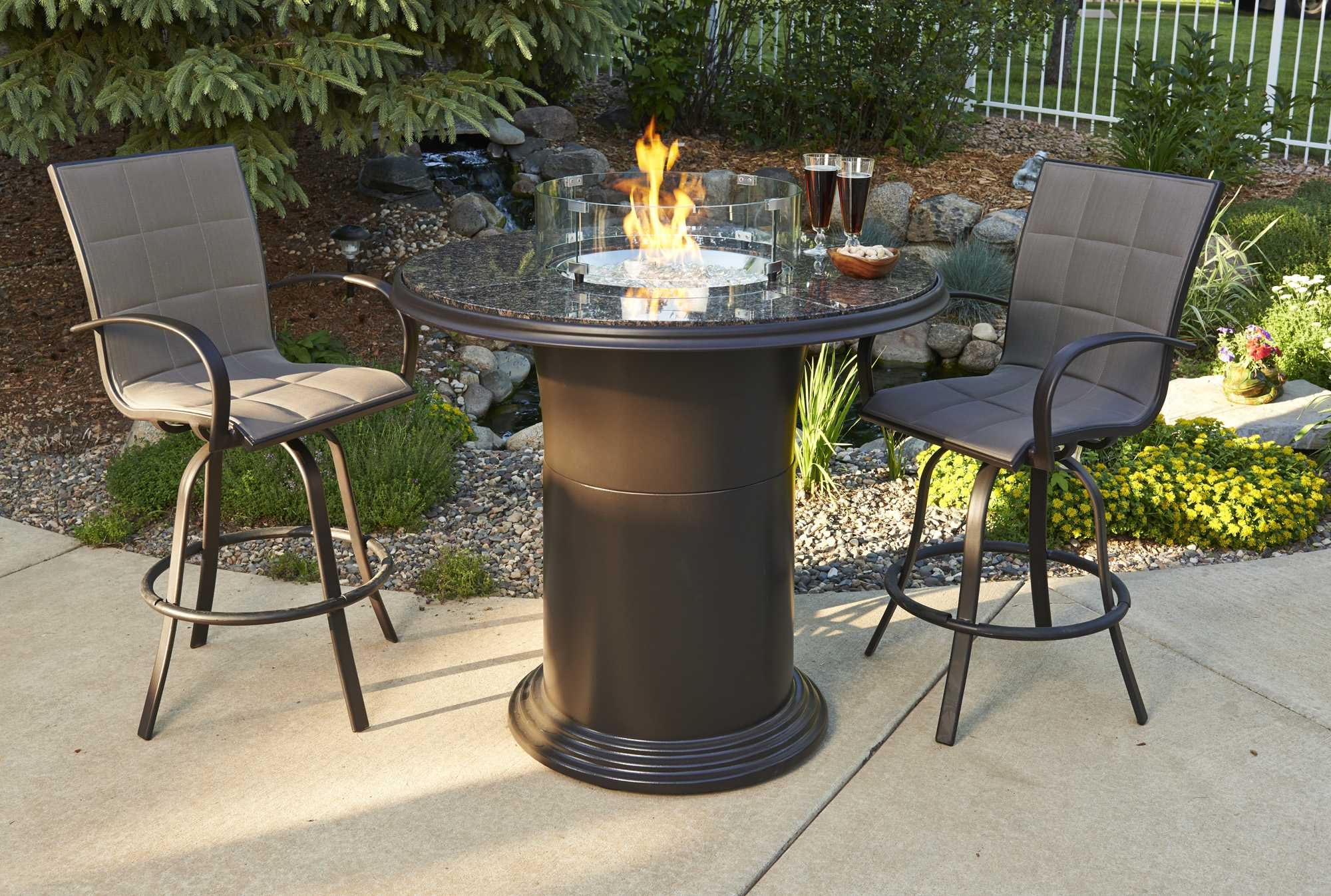 Outdoor Greatroom Empire Aluminum Swivel Bar Stool Set Of