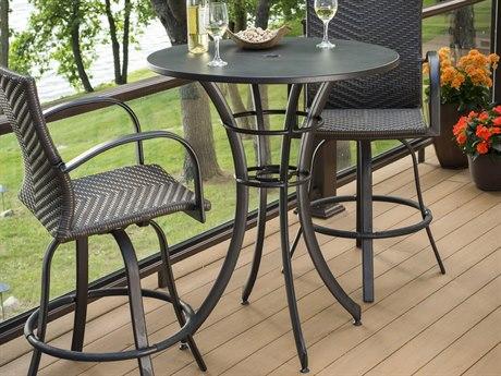 Outdoor GreatRoom Empire Aluminum 36 Round Dora Brown Pub Table