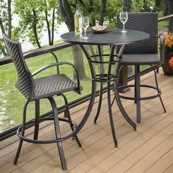 Outdoor GreatRoom Empire Aluminum Wicker Round Bar Set