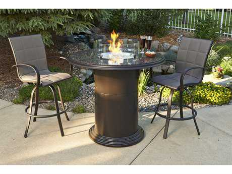 Outdoor GreatRoom Colonial Fiberglass 48 Round Grand Crystal Pub Fire Pit Table with British Granite Top