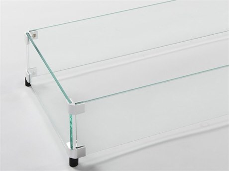 Outdoor Greatroom Tempered Glass 96''W x 12''D Rectangular Wind Guard