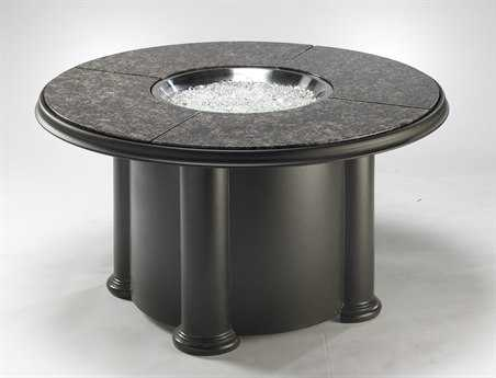 Outdoor GreatRoom Chat Fiberglass 48 Round Crystal Coffee Fire Pit Table with British Granite Top & Lazy Susan