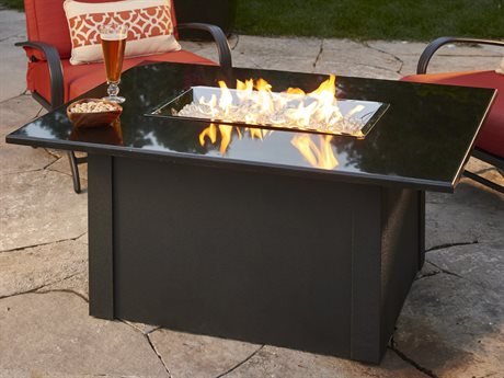 Outdoor GreatRoom Grandstone Aluminum 48 x 36 Rectangular Crystal Fire Pit Table with Napa Valley Black Base & Absolute Black Granite Top PatioLiving