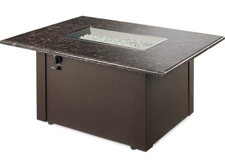 Outdoor GreatRoom Grandstone Aluminum 48 x 36 Rectangular Crystal Fire Pit Table with Napa Valley Brown Base & British Granite Top