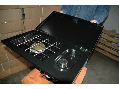 Outdoor GreatRoom Side Burner Option for 24 or 36 Black Porcelain Gas Grill Head in Cabinet