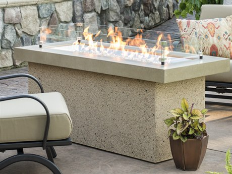 Outdoor GreatRoom Key Largo Crystal Fire Pit with Brown Supercast Top and Serengeti Base