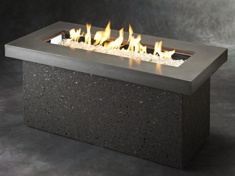 Outdoor GreatRoom Key Largo Crystal Fire Pit with Midnight Mist Supercast Top and Grey Tereneo Base