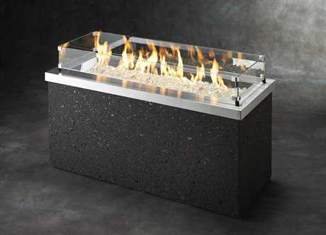 Outdoor GreatRoom Key Largo Faux Stone 48 x 19.625 Rectangular Crystal Fire Pit Table with Stainless Steel Top & Grey Tereneo Base
