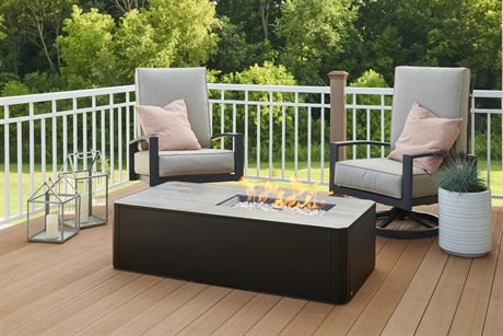 Outdoor Greatroom Kinney Steel Black 55''W x 27''D Rectangular Fire Pit Table PatioLiving