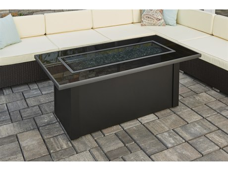 Outdoor Greatroom Monte Carlo Fire Table with Black Glass top
