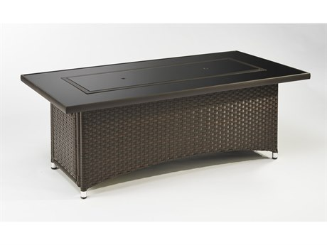 Outdoor GreatRoom Montego 59.75 x 30 Rectangular Crystal Fire Pit Coffee Table with Balsam Wicker Base