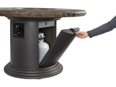 Outdoor GreatRoom Colonial Fiberglass 48 Round Fire Pit Chat Table with Marbleized Noche Top