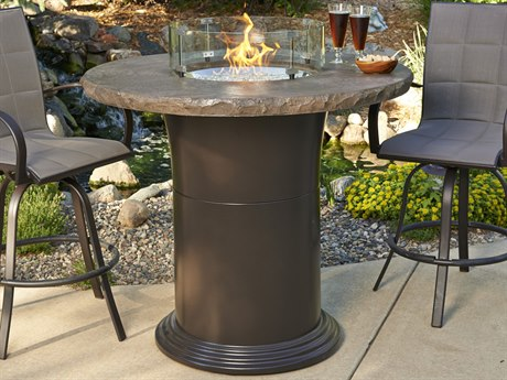 Outdoor GreatRoom Colonial Fberglass 48 Round Fire Pit Pub Table Crystal with Marbleized Noche Top