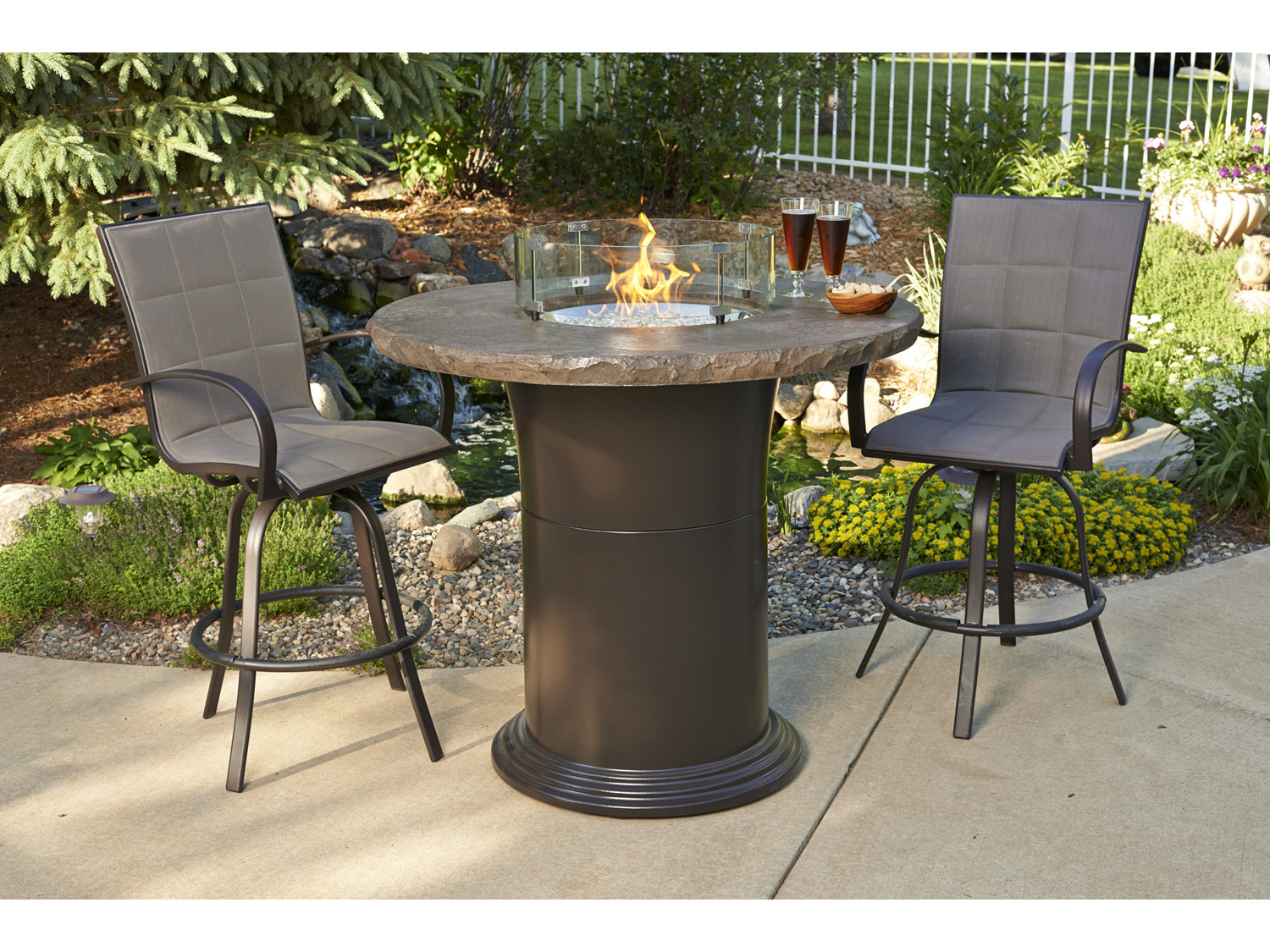 Outdoor Greatroom Colonial Fberglass 48 Round Fire Pit Pub