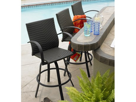 Outdoor GreatRoom Naples Wicker Swivel Bar Stool (Set of 2) PatioLiving