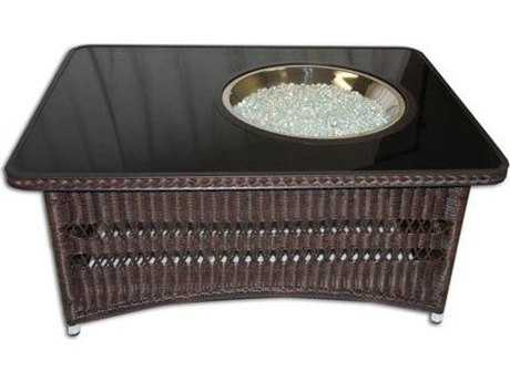 Outdoor GreatRoom Naples 48 x 35.5W Rectangular Crystal Fire Pit Coffee Table with Balsam Wicker Base OGNAPLESCTBK