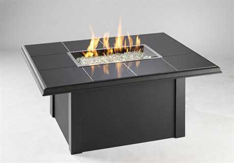 Outdoor GreatRoom Napa Valley Aluminum 50 x 38 Rectangular Crystal Fire Pit Table with Black Metal Base