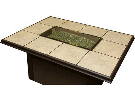 Outdoor GreatRoom Napa Valley Aluminum 50 x 38 Rectangular Crystal Fire Pit Table with Brown Metal Base